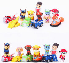 12 IN 1 PAW Kids Mini Figures Patrol dog Toy Play Set Gift Ryder Cars and 6 Dogs