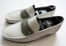 $1100 ARTIOLI White and Gray Leather Shoes Loafers Size 7.5 US 40.5 Euro 6.5 UK