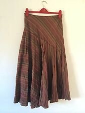 JOHN LEWIS Brown/ Orange Stripe Full Circle Maxi Skirt UK 12