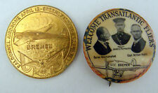 1928 FIRST EAST TO WEST NON STOP FLIGHT IRELAND TO CANADA MEDAL & PINBACK RARE