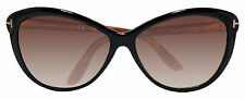Tom Ford FT0325 Telma Soft Cat Eye Black Havana Brown Sunglasses TF325 03F New