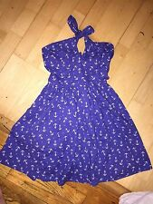 asos NEW adorable bright blue white ANCHORS away 50's style cotton dress 2