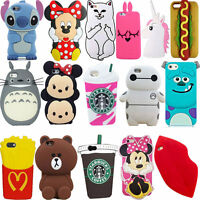 3D Animals Cartoon Soft Silicone Case Cover Back Skin For iPhone Various  Phone