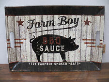 "Vintage-Style Tin Metal Serving Tray  ""FARM Boy BBQ Sauce"" Smoked Meats Pig"