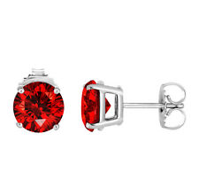 Platinum Enhanced Fancy Vivid Red Diamond Stud Earrings 2.12 Carat Certified