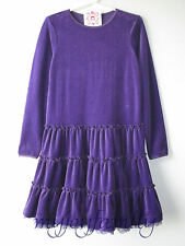 HANNA ANDERSSON Velour Tutu Tiered Love Twirl Dress Chateau Purple 140 10 NWT