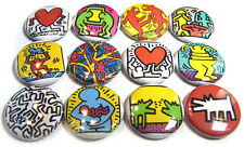 "12 KEITH HARING - 1"" Buttons ONE Inch Badges Peace Love Retro - POP ART Pinbacks"
