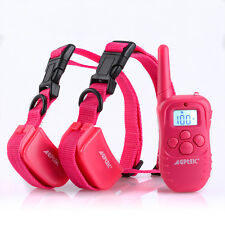 300 Yard Rechargeable LCD 100LV Level Shock Vibra Remote 2 Dog Training Collar