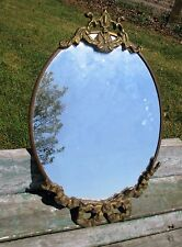 Vintage Small Brass Oval  Wall Hanging  Mirror  Ornate Hollywood Regency Style