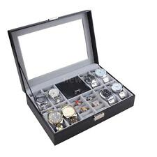 Men Women Watch Box Glass Top Display Jewelry Organizer Storage Case Gift L6T9