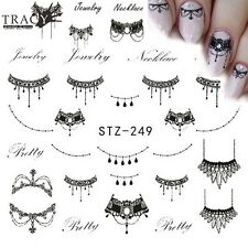 Black Jewelry Lace Hot Nail Art Water Transfer Decal Decoration Stickers STZ-249