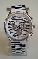 SILVER/ZEBRA ANIMAL PRINT GENEVA LARGE BRACELET FASHION BOYFRIEND WATCH