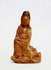 Well  Hand  Carved  Chinese  Yellow  Shou-Shan  Stone  Kwan-Yin  Figure