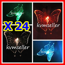Set of  24 Solar Powered Butterfly Garden Yard Stake Pathway Lawn Light LED Sun