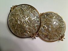 Vintage Silvertone Confetti Lucite Slide On Earrings, Rare