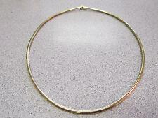 18k  16 inch 3 mm Curved Omega Necklace 18k Solid Gold  24 Grams   Make Offer