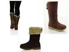 NEW WOMENS LADIES FUR LINED BROWN RAIN MOON SKI WINTER BOOTS SHOES SIZE 5 UK