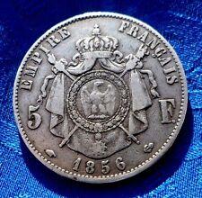 MONNAIE ANCIENNE 5F ECU NAPOLEON III TETE NUE EN ARGENT 1856 A PARIS A VOIR!!!!