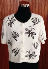 MICHAEL SIMON Cardigan Sweater White Beaded Butterflies Hand Embroidered Small