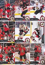 2014-15 Upper Deck Ottawa Senators Complete Series 1 & 2 Team Set - 12 Cards