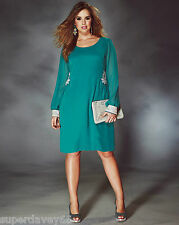 LADIES TURQUOISE PEARL JEWEL SEQUIN FLATTERING TUNIC EVENING PARTY DRESS SIZE 14