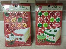 SET OF 2 CAKE MATE CHRISTMAS CANDY CAKE DECORATIONS -  48 PIECES TOTAL