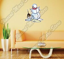 Dog Peeing Snowman Christmas Funny Wall Sticker Room Interior Decor 20X25""