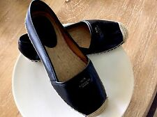 NEW COACH 'RHODELLE ESPADRILLE' Black Lamb Skin Leather Flat Shoes USA Sz 7 1/2