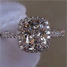 2.0 Ct Cushion Cut Diamond Engagement Wedding Ring 925 Silver Certified NSCD