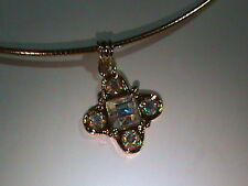 "Premier Designs Gold Collar 16"" Necklace w CRYSTAL AB Cross Charm & 3.5"" Extend!"