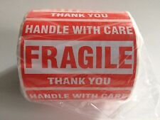 """50 Labels 2x3 """"Handle with Care FRAGILE Thank You"""" Shipping Mailing Stickers"""