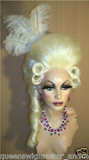 Drag Wig Costumes Big Casanova Pale White Blonde Pompador & Tail and Curls