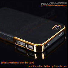 iPhone 5 / 5S Leather Chrome Hard Back Case Black Gold Canadian Seller