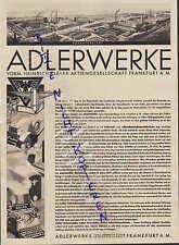 FRANKFURT/M., Werbung 1931, Adlerwerke vorm. Heinrich Kleyer AG
