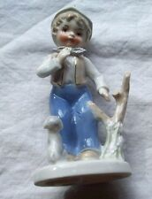 PORCELAIN BOY WHITE & GRAY DOG FIGURINE BY VIMAX JAPAN MULTI COLOR VINTAGE