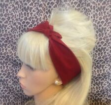 NEW PLAIN BURGUNDY COTTON SQUARE BANDANA HEAD HAIR NECK SCARF 50s PIN UP RETRO
