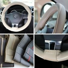 "New 14.5"" Beige Steering Wheel Cover Wrap White Strip PVC Leather 47015 Medium"