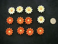 Job Lot 3D Daisy FLOWERS12 RESIN Floral Embellishments 2.5cm  NEW Yellow ORANGE