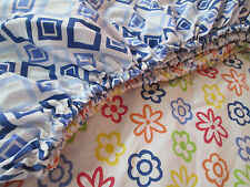 TWIN Fitted Sheet ~ Flowers GEOMETRIC Reversible Pattern ~ Vintage Cotton Blend