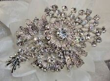 "3"" LARGE CLEAR RHINESTONE CRYSTAL FLOWER BOW VINTAGE LOOK BROOCH PIN"
