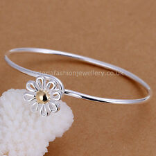 Daisy Flower Bracelet Bangle in 925 STERLING SILVER Summer Gold Wedding Gift