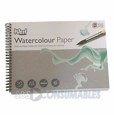 West Design A4 Watercolour Paper Spiral Bound Pad. 10 Sheets. 300gsm. Painting
