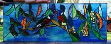 AUSTRALIAN RAINBOW LORIKEET LOVE BIRDS & BUTTERFLY Stained Glass Window Entrance