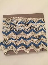 Vintage 1940 Lace trim white/blue cotton Old Stock 3 Yards