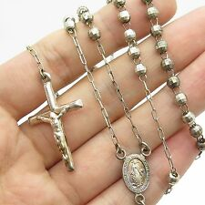 """Vtg 925 Sterling Silver Cross Bead Chain Rosary Necklace 23"""""""