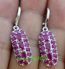 NATURAL RED RUBY 925 SILVER DANGLE EARRINGS