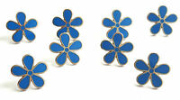 MASONIC SET OF 8 FLOWER FORGET ME NOT 15mm ENAMEL LAPEL PIN BADGES
