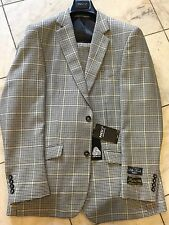 NEW INSERCH MENS 100% WOOL MULTI COLOR PLAID 2BT. SUIT LINED WEDDING SIZE 42R