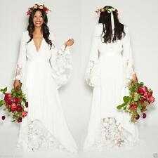 Summer Beach BOHO Lace Wedding Dress Bridal Gown Hippie Style With Long Sleeve++