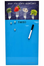"Blue French 20"" Kitchen Memo/Menu Board Wall Hanging Decor w/ Marker & Magnets"